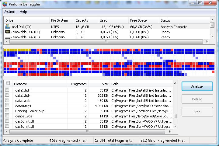 Программа Defraggler - дефрагментация жёсткого диска
