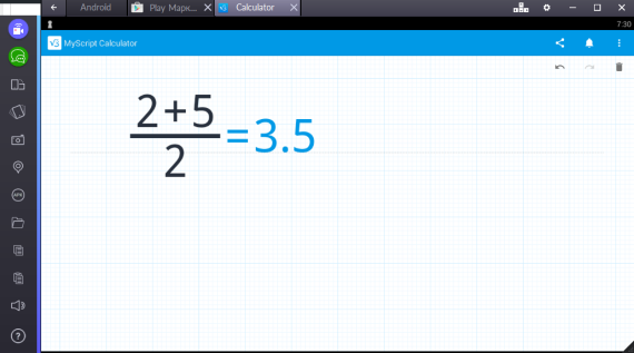 MyScript Calculator через эмулятор BlueStacks