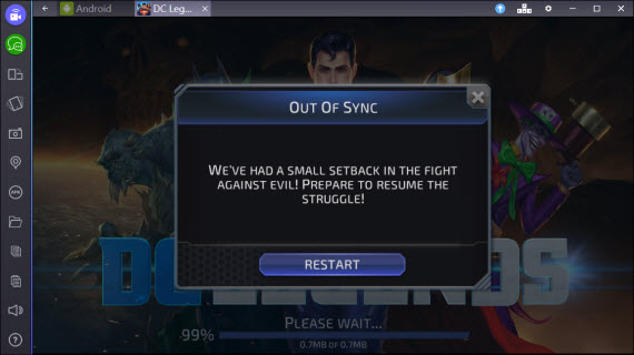 Запускаем DC Legends в BlueStacks
